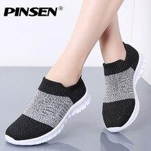 PINSEN/Осенняя женская обувь; дышащая повседневная обувь на плоской подошве; женские удобные кроссовки без застежки; Basket Femme; zapatillas mujer