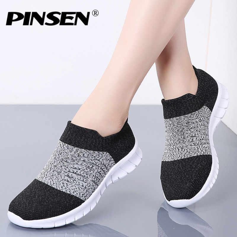 Pinsen 가을 여성 신발 통기성 캐주얼 플랫 신발 여성 편안한 슬립 온 바구니 여성 스니커즈 여성 zapatillas mujer
