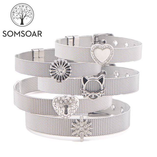 acf7cd2968fa3 US $1.82 20% OFF|Dropshipping Somsoar Jewelry Silver Stainless Steel Mesh  Bracelet Bangles with DIY Slide Charms Bracelets as Woman Best Gift -in  Wrap ...