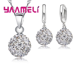 Shiny Latest Jewelry Set 925 Sterling Silver Austrian Crystal Pave Disco Ball Lever Back Earring Pendant Necklace Women(China)