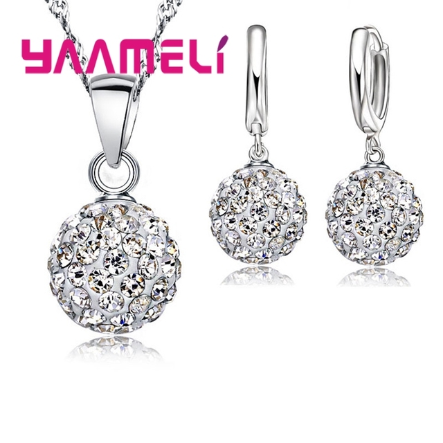 YAAMELI 925 Sterling Silver Austrian Crystal Jewelry Set