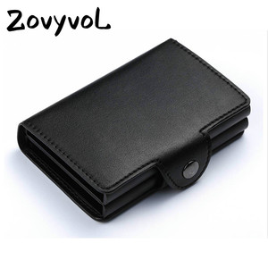 ZOVYVOL 2019  men women Double Boxes ID Card Wallets PU Leather Credit Card Holder Solid Aluminum Card Holder Unisex Money Bag