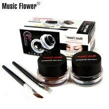 Music Flower Eyeliner Gel set Long Lasting Black+Brown 2pcs Water-proof Eye liner Make Up with Makeup Brushes Dropshipping