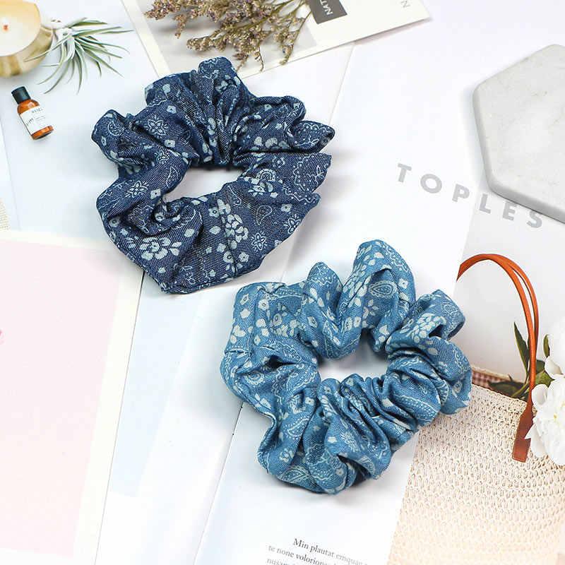 แฟชั่น scrunchy ผมเชือกผม ties แหวนผมหางม้า Hairband อินเทรนด์ Blue Star อุปกรณ์เสริมผมน่ารัก