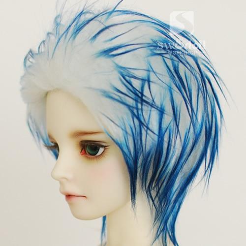 White pick blue BJD Doll Fur Wig for 1/3 1/4 1/6 1/8 1/12 Full Size Doll HH70 1 3 1 4 1 6 1 8 1 12 bjd wigs fashion light gray fur wig bjd sd short wig for diy dollfie