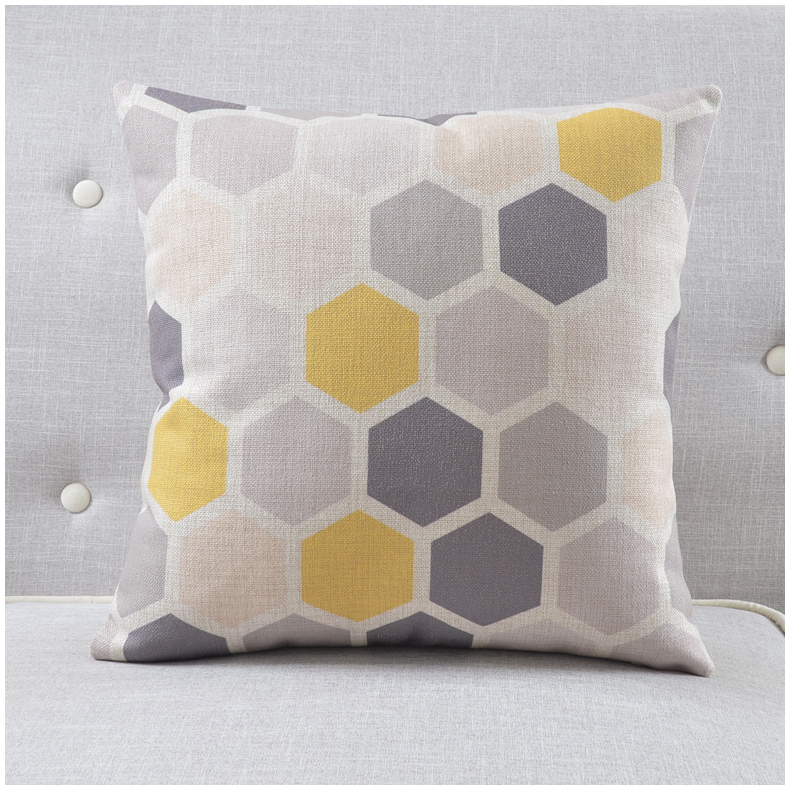 Nordic Style Decorative Pillows Case Yellow Grey Geometric Cushion Cover Home Decor Plain Throw Pillowcase 45x45cm In From