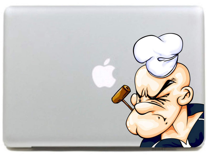 Popeye smoking a pipe Vinyl Decal Sticker for DIY Macbook Pro / Air 11 13 15 Inch Laptop Case Cover Sticker