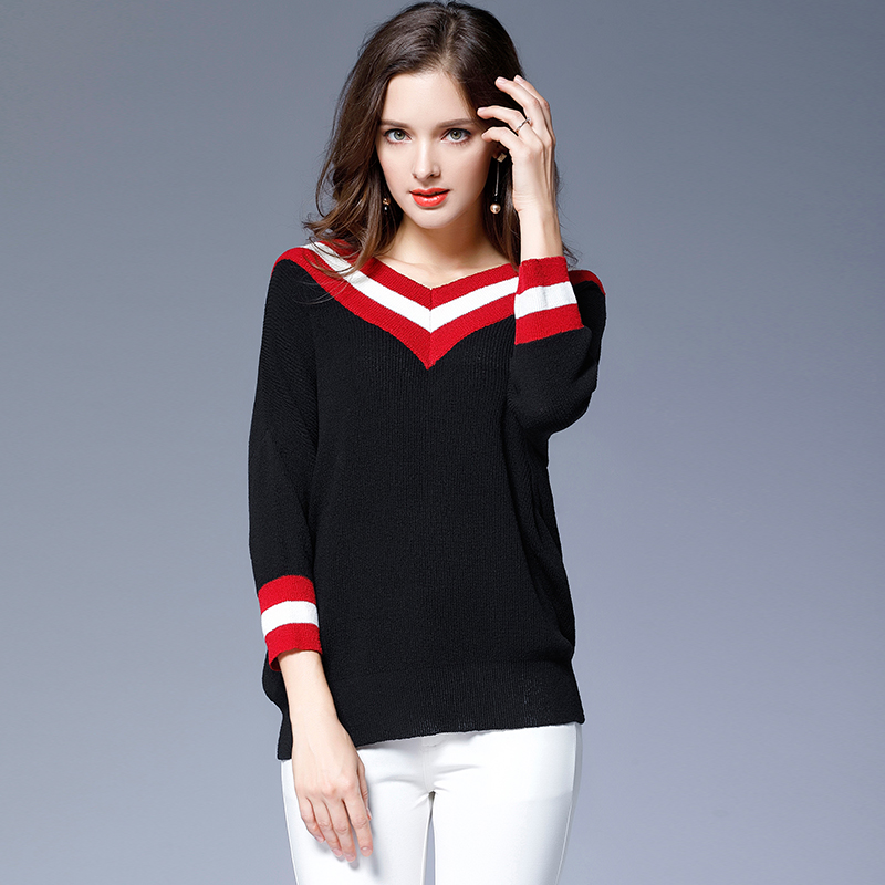 Fashionnable red white striped black loose sweater 2