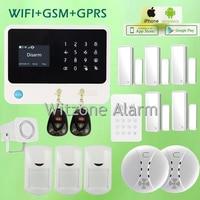 Хорошее качество дома Беспроводной gsm Охранной Сигнализации Системы двойной сети Wi Fi/GSM Защита от взлома пожарной сигнализации Системы, Бес