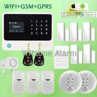 Buona Qualità Home Wireless GSM Sistema di Allarme di Sicurezza di Rete Dual WiFi/GSM Antifurto Sistema di Allarme Antincendio, DHL LIBERA il Trasporto