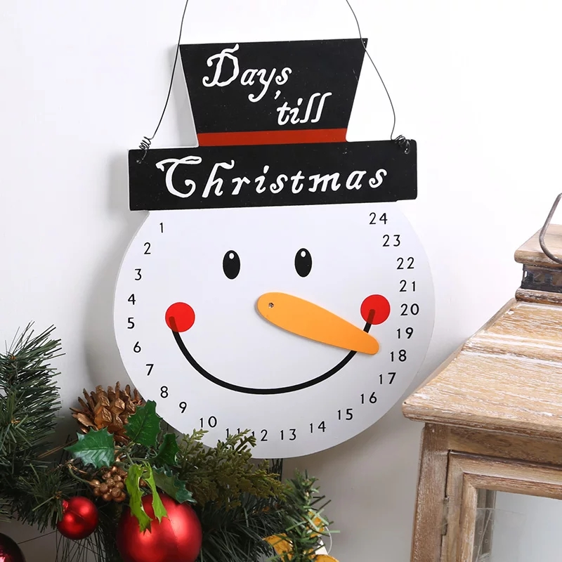 Christmas Decoration For Home Wooden Snowman Countdown Advent Calendar Hanging Board Kids Ornament Gifts In Calendars From