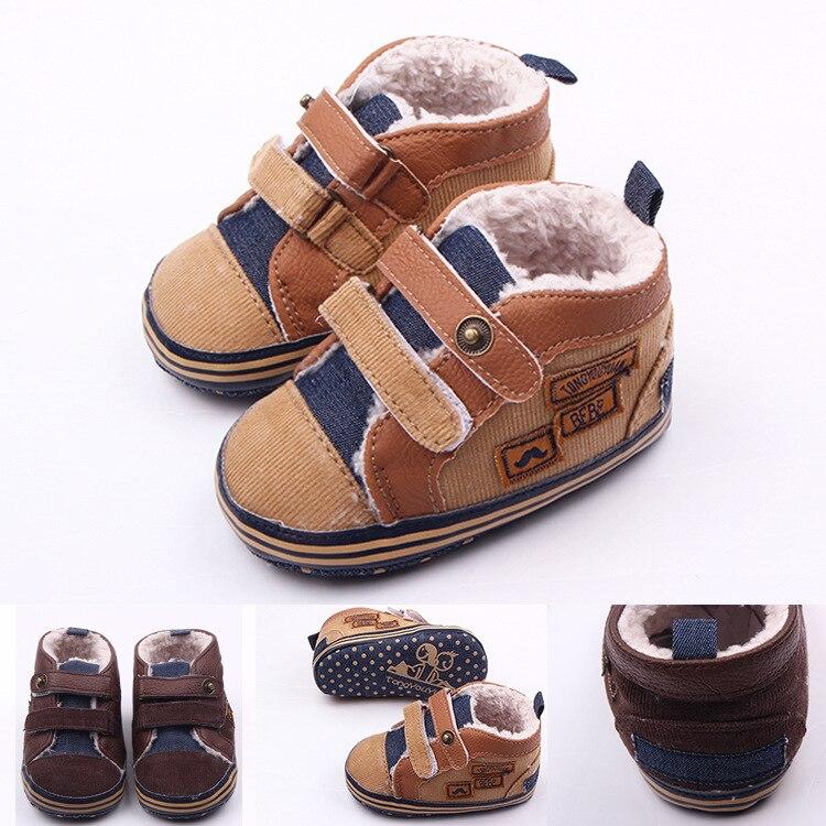 11-13cm Winter Sole's Soft Sole Shoes Warm Kids Primi Walker Brand Shoes Fleece Fashion Sneakers Baby Boy Boots