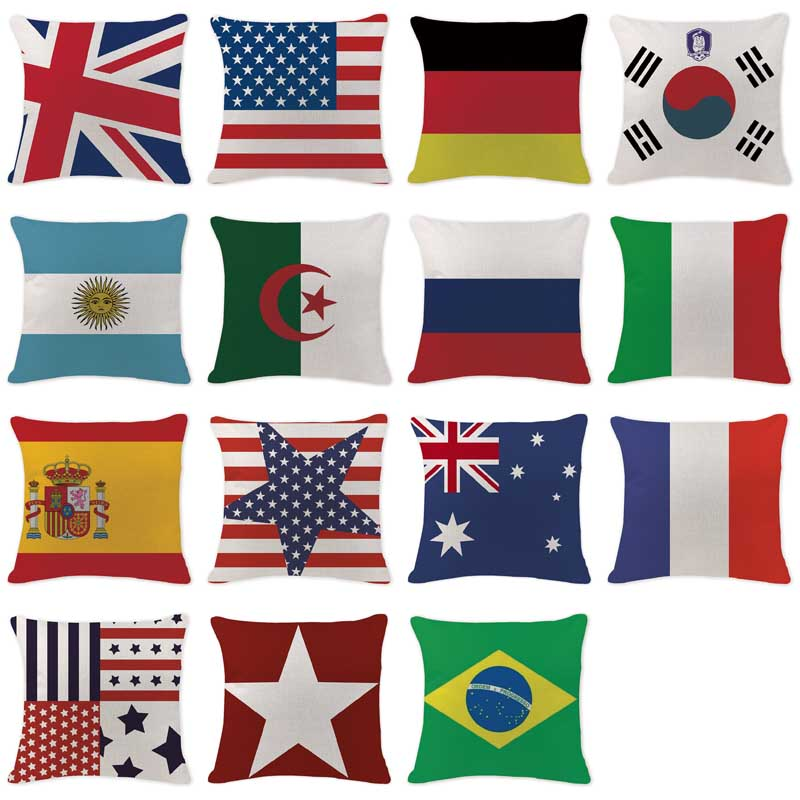 db30e565b3e0 2017 New Toss Pillow America Asia National Flag Pillow Case Living Room  Rectangle Cotton Linen Floor Home Decor Europe Almofada