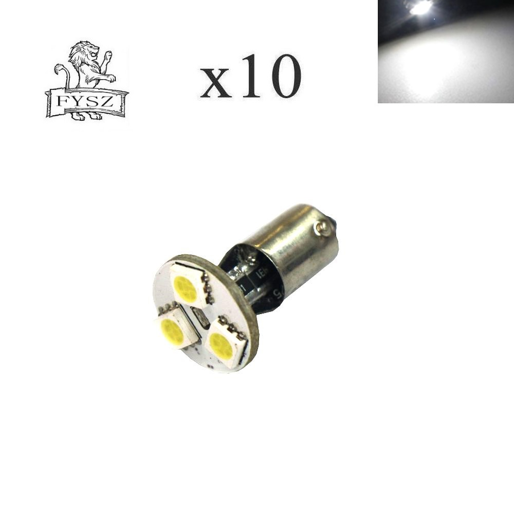10PCS BA9S LED Car 5050 Led 3 SMD 12V 6000K White Light Small Lights In wide light meter light  DC 12V 10Pcs-in Signal Lamp from Automobiles & Motorcycles
