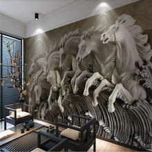 3d stereo horse relief background wall painting professional production mural custom photo wallpaper