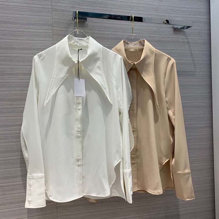 2019 women turn down collar blouse tops 2colors at190126