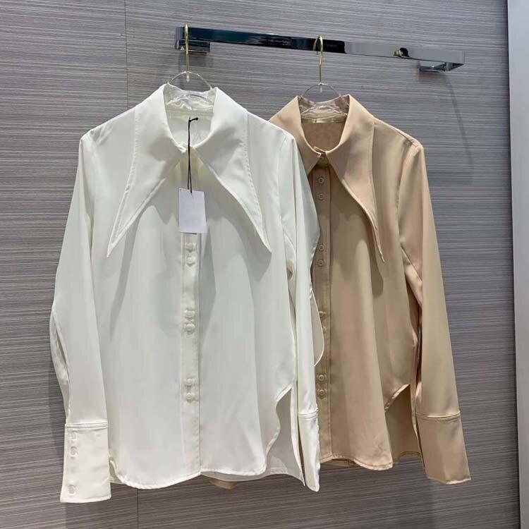 2019 frauen drehen unten kragen bluse tops 2 farben at190126-in Blusen & Hemden aus Damenbekleidung bei  Gruppe 1