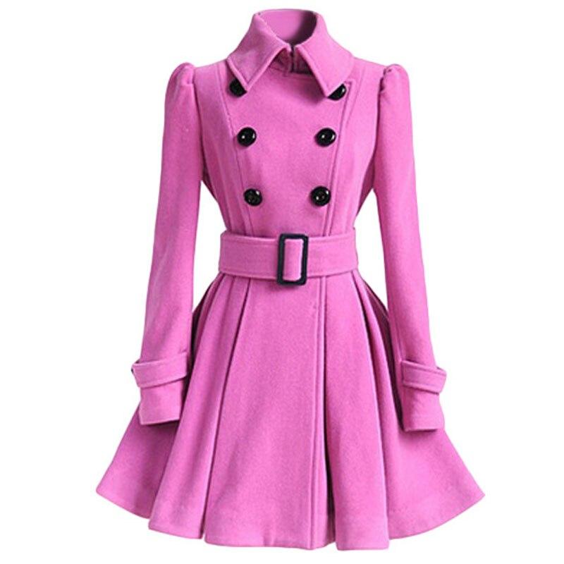 Осенне-зимнее женское пальто, модный тонкий винтажный двубортный пиджак, женский элегантный длинный теплый красный блейзер для женщин - Цвет: Розовый