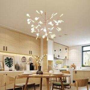 Image 2 - Lâmpada de led para árvore de jantar, luminária moderna de folhas de árvore para sala de jantar, luminárias nodric de estúdio