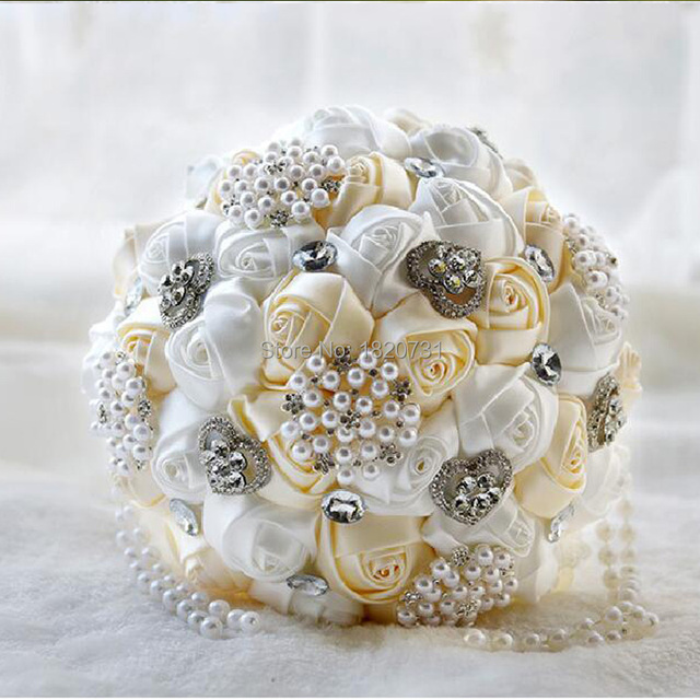 2017 Новые Потрясающие Свадебные цветы Белый Невесты Свадебные Букеты искусственные Розы Свадебный Букет