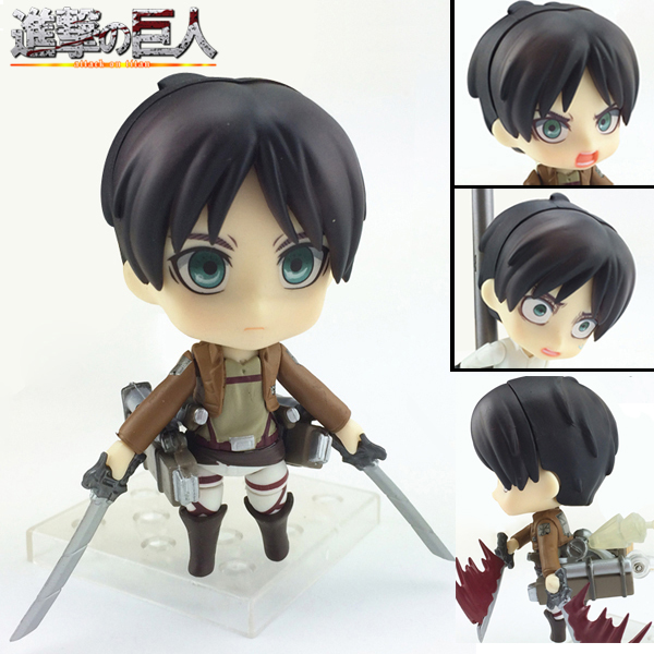 Promotional price 10cm Japanese Anime Cute Nendoroid Attack on Titan Eren Jaeger #375 PVC Action Figure Collectible Model Toy Do