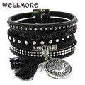 WELLMORE winter leather bracelet 6 color 3 size Bohemian bracelets boho bracelets & bangles for women Christmas gift B160805