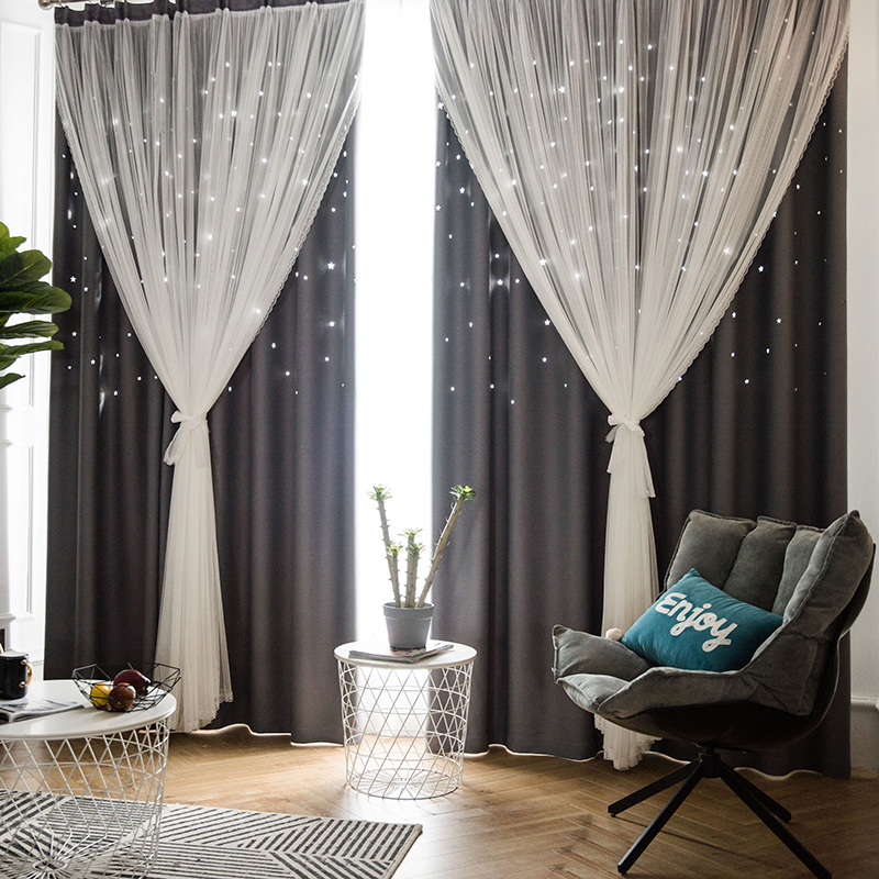 Modern Hollow Stars Double Layer Voile Tulle With Blackout Curtains For Living Room Bedroom Window Curtains For Kids Room Custom