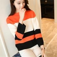 36 new autumn color clip stripe knit collar shirt dress F1954