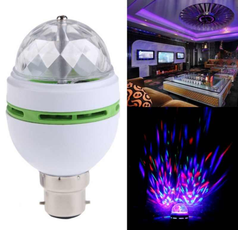 New Arrival AC85-260V Profession Stage Light B22 3W RGB Colourful Crystal Ball Rotating LED Stage Light Bulb Disco Lamp Lighting