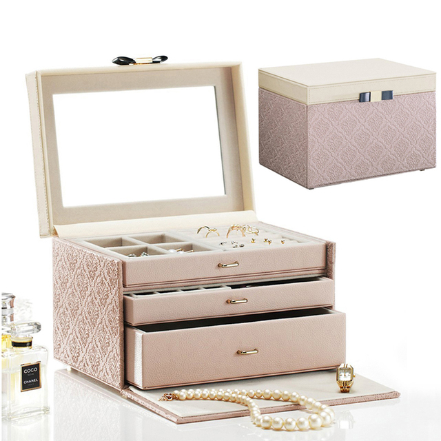 Luxury Fashion wooden ring earring necklace jewelry box organizer
