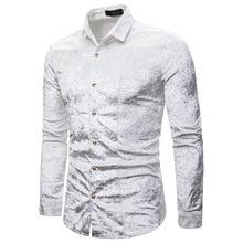 PADEGAO 2019 autumn new mens personality multicolor fashion diamond velvet high quality lapel long sleeve shirt