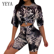 YEYA  Two Pieces Sets O-neck Top+skinny Pants Elegant Vintage Print Hollow Out Jumpsuits Women Summer Retro Romper Overalls