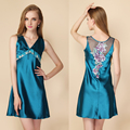 New Embroidery Women Sexy Nightgowns Lace Plus Size Sleep Dress Nightwear Silk Ladies Home Dress Summer Style V-Neck