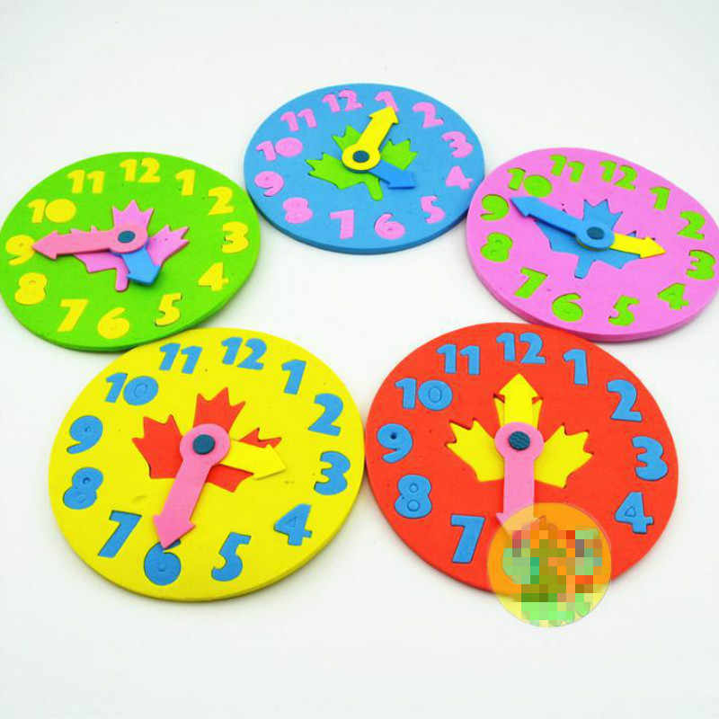 1 peça Crianças DIY Eva Relógio de Aprendizagem Educação Brinquedos Divertido Jogo de Matemática para Crianças Presentes Do Brinquedo Do Bebê 3-6 anos de idade