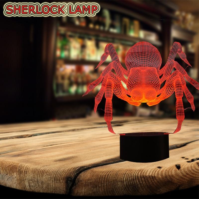 Wholesale Animal Pot-bellied Spider 3D LED USB Lamp Halloween Trick Haunted House Decoration 7 Color Bulb Table Desk Night Light horrible brain halloween props haunted house decoration red