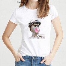 Statue Bubble Gum Chewing Print T shirt women David Michelangelo Sistina femme t-shirt aesthetic clothes harajuku vintage
