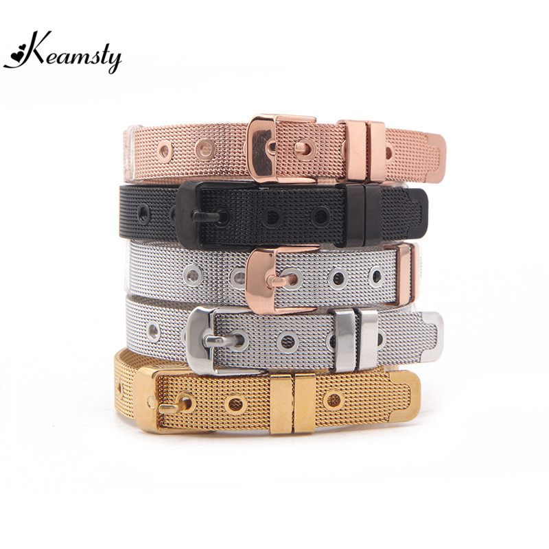 Keamsty Charms Bracelet Stainless Steel Mesh Bracelet Keeper