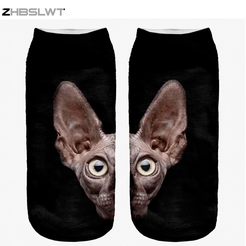 ZHBSLWT 3D Print Animal Sphynx Cat Women Socks Calcetines Casual Cute Character Low Cut Ankle Socks Multiple Colors Harajuku