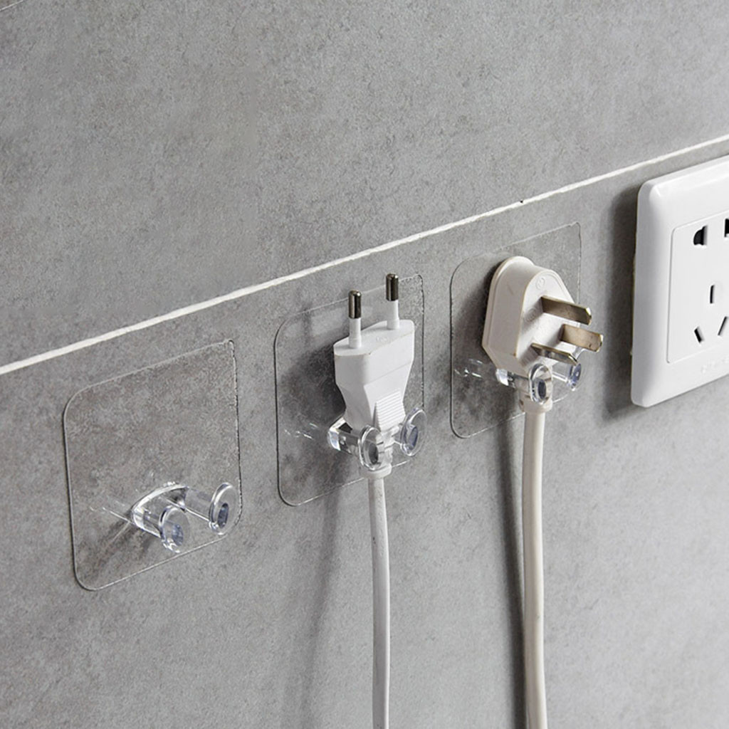 6pc Wall Storage Hook Power Plug Socket Holder Wall Adhesive Hanger Home Office(China)