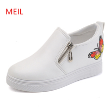Woman White wedge Sneakers 2019 Butterfly Embroidery PU Female Casual Shoes women Inside Wedge Platform Loafers