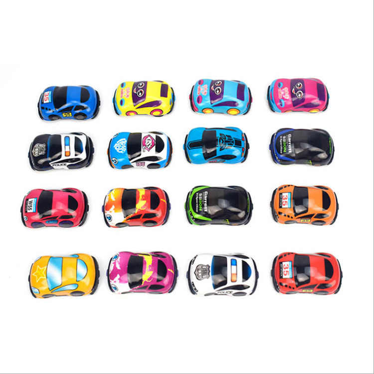 1 PC/10 Pcs Mainan Bayi Lucu Plastik Tarik Kembali Mobil Mobil Mainan untuk Anak Roda Mobil Mini Model lucu Anak-anak Mainan 16 Gaya Mainan Bayi