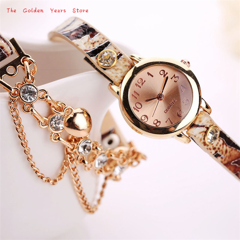 2017 New Hot Fashion Clock Women Lady Girl font b Watch b font Woman Leather Rhinestone