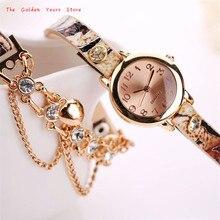 2017 New Hot Fashion Clock  Women Lady Girl Watch  Woman Leather Rhinestone Rivet Chain Quartz Bracelet Wristwatch Watch 1214d40