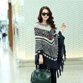 Новые свободные свитера Женщины большой размер трикотажные плащи и пончо женская batwing плащ плащ с кисточкой тянуть femme DX828