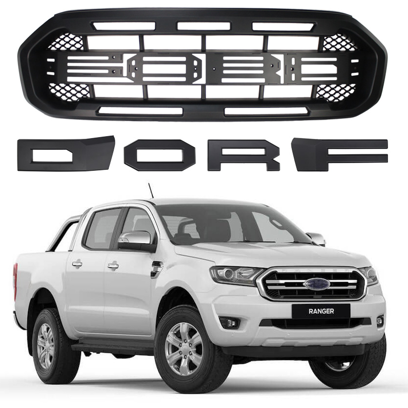 DOOd Ford Ranger,Front Grilles for Ford 2018-2020 T8 MK3 XL XL Matte Black with LED XLT XLS FX4,Raptor Grille with Letters and LED Lights