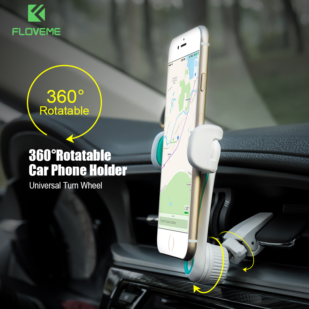 FLOVEME 360 Degree Rotation Car Phone Holder Universal Adjustable Air Vent Mount Mobile Phone Car Holder Stand Support Soporte ...