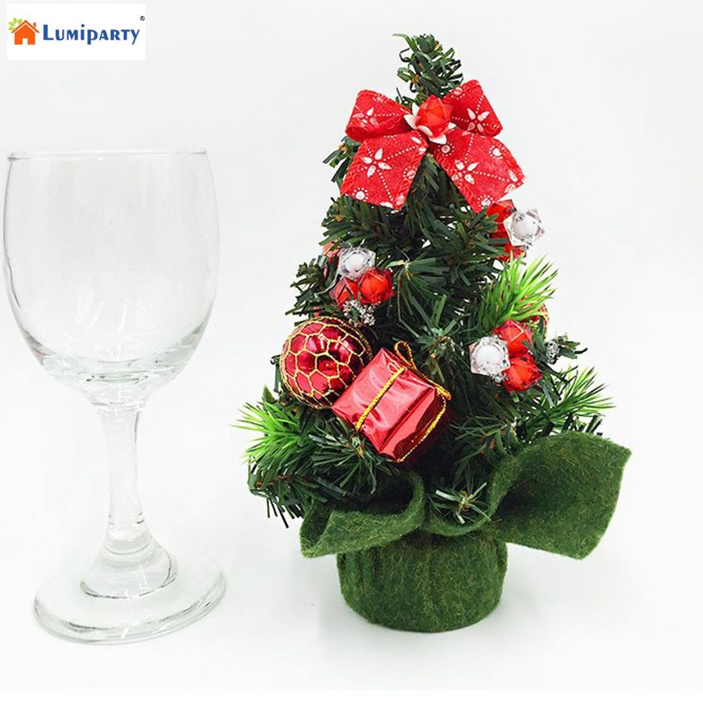 LumiParty 7.9 Inch Mini Christmas Tree Market Emerald Fir