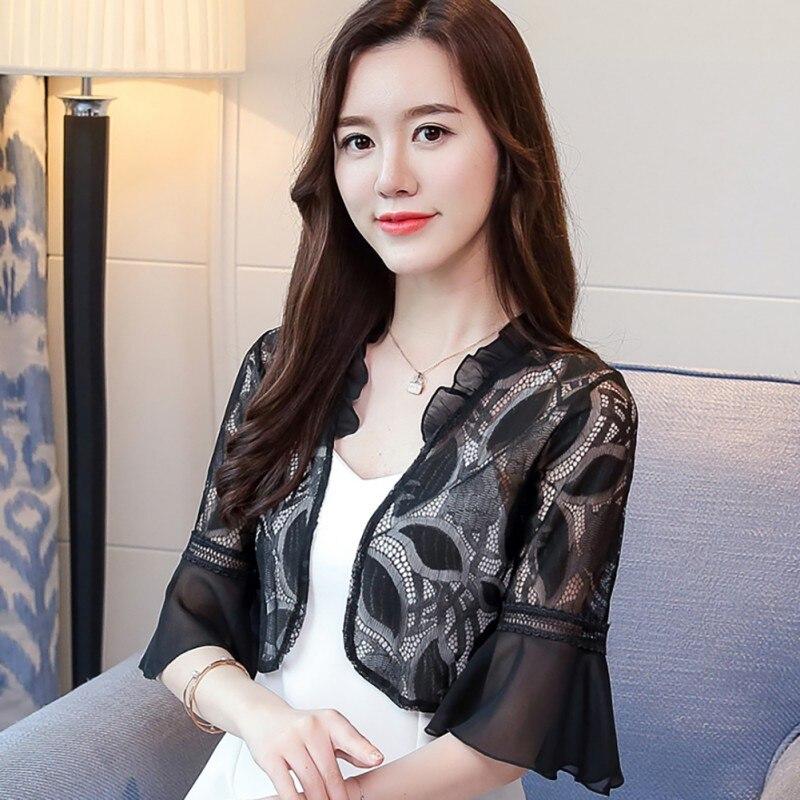 Women Summer Kimono Cardigan Sun Blouse Shirt  Fashion Lace Patchwork Chiffon Tops Sunscreen Sunproof Outwear