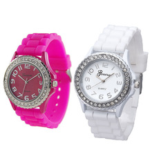 Fashion Silicone Gel Ceramic Style Band Crystal Bezel Women's Watch Brand New High Quality Luxury Free Shipping #450717