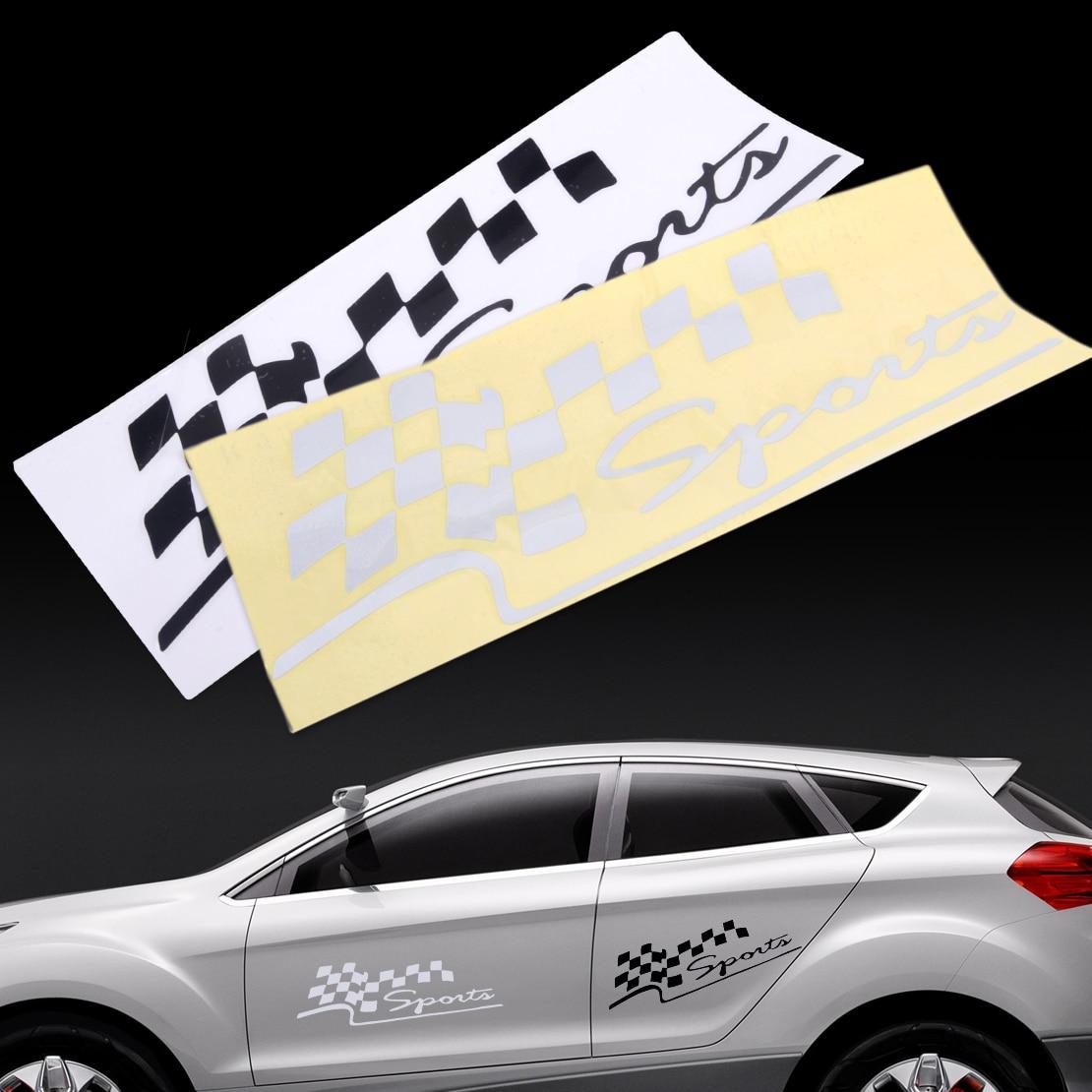 Beler Авто тела гонки клетчатые флаги спортивный стиль виниловая наклейка Стикеры для VW Audi BMW Nissan Mazda Honda Chevrolet kia ...